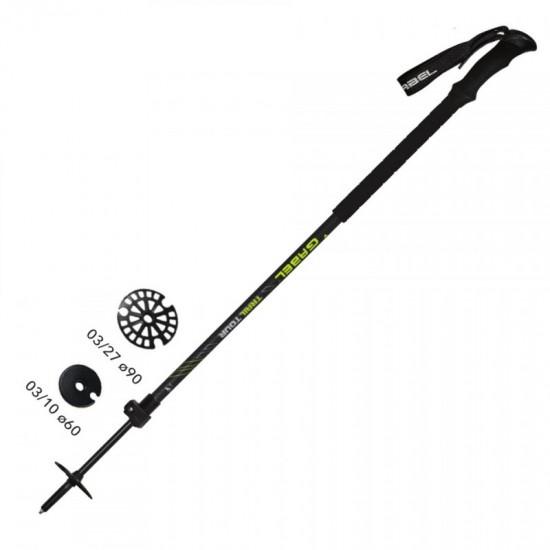 Kalnų slidinėjimo lazdos GABEL TRL Black/Yellow 100-155cm